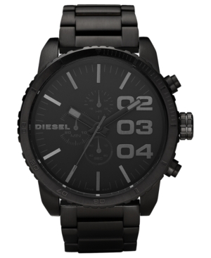 Diesel Watch, Chronograph Black Ion Plated Stainless Steel Bracelet 58mm DZ4207