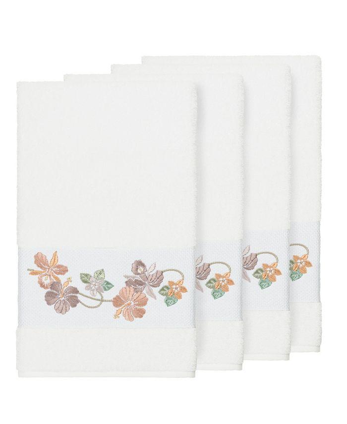 Linum Home - Caroline 4-Pc. Embroidered Turkish Cotton Bath Towel Set