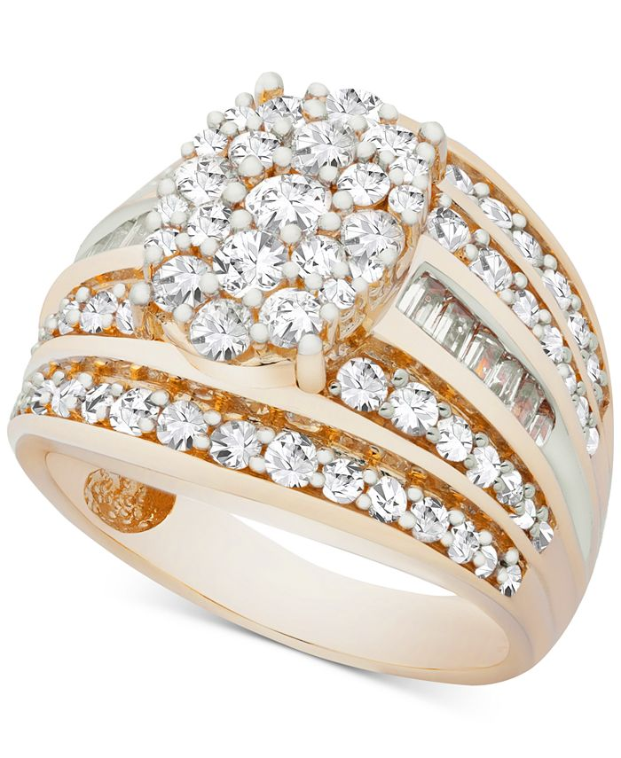 Macy's - Diamond Oval Cluster Ring (2 ct. t.w.) Ring in 14k Gold