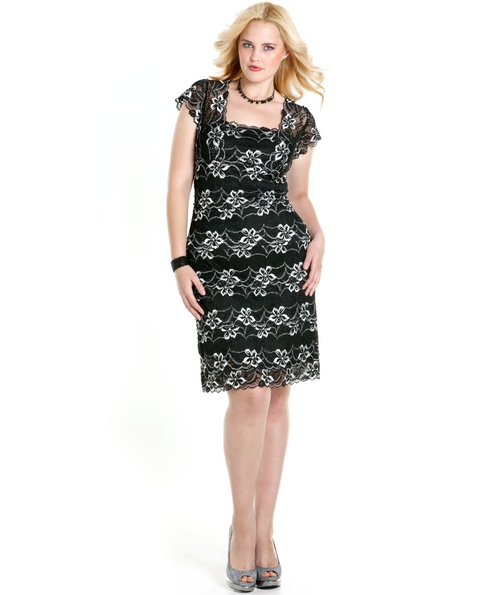 Onyx Plus Size Dress, Short Sleeve Tiered Floral Lace Scalloped Hem ...