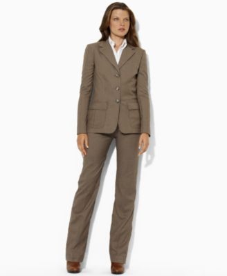 Lauren by Ralph Lauren Argo Long Sleeve Button Front Blazer & Sanderson Straight Leg Trousers