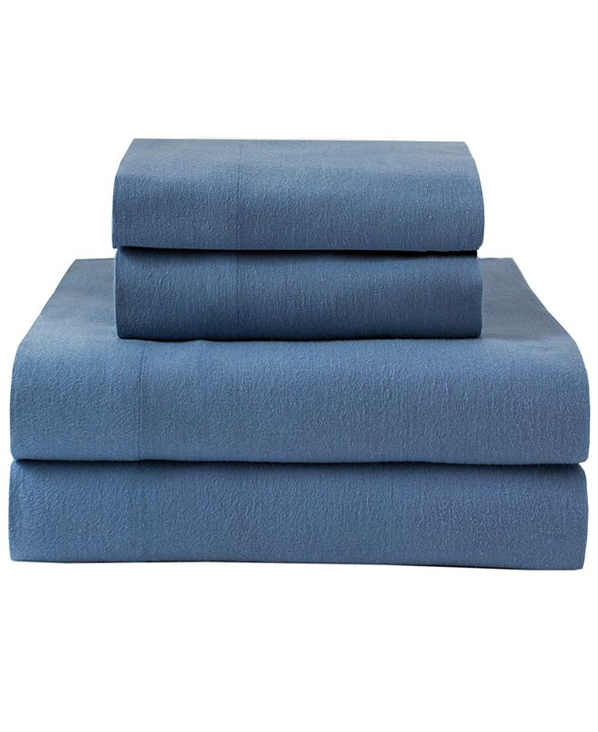 Elite Home Winter Nights Cotton Solid Flannel Twin Sheet Set