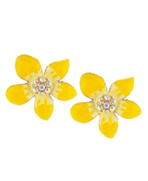 Betsey Johnson Earrings, Yellow Flower Stud Earrings