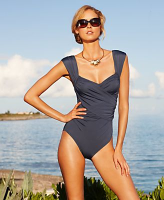 Badgley Mischka Swimsuit, Surplice Over The Shoulder Draped Front One Piece