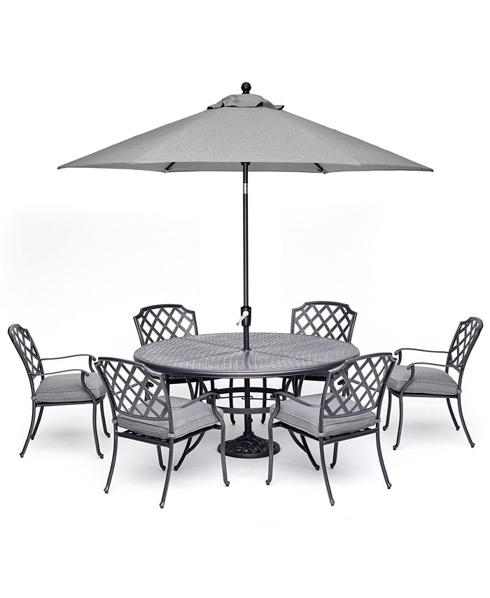 """Furniture - Vintage II Outdoor Cast Aluminum 7-Pc. Dining Set (61"""" Round Table & 6 Dining Chairs) With Sunbrella® Cushions, Created For Macy's"""