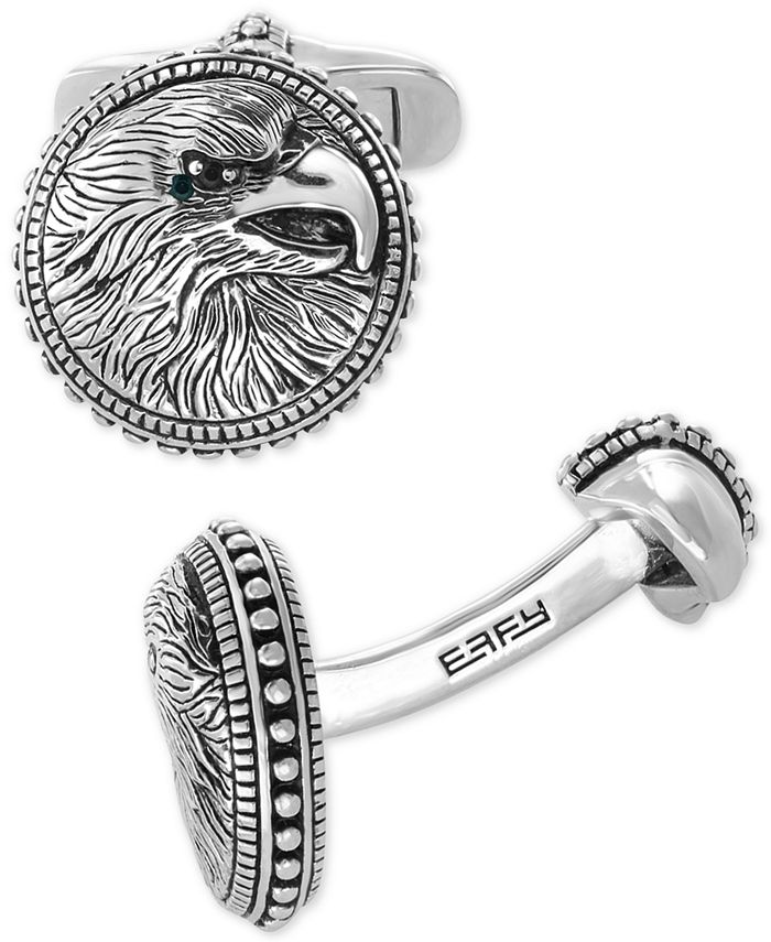 EFFY Collection - Men's Black Spinel Eagle Cuff Links in Sterling Silver