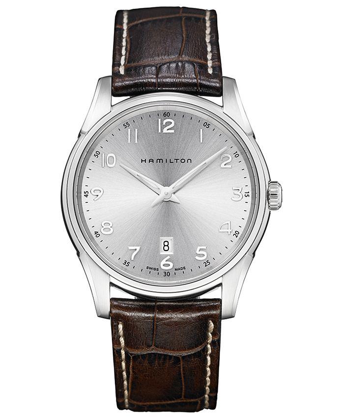 Hamilton - Men's Swiss Jazzmaster Thinline Brown Leather Strap Watch 42mm