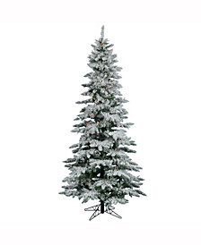 Vickerman 7.5 ft Flocked Utica Fir Slim Artificial Christmas Tree With 550 Multi Lights