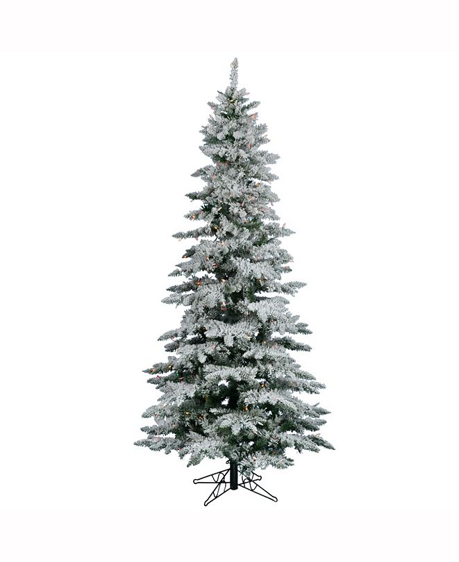 Vickerman 7.5 ft Flocked Utica Fir Slim Artificial Christmas Tree With 550 Multi Lights