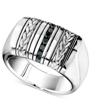 Men's Sterling Silver Ring, Black Diamond Braided Ring (1/4 ct. t.w.)