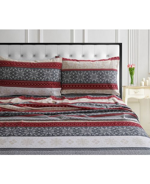 Tribeca Living Holiday Print Flannel Extra Deep Pocket Cal King Sheet Set Reviews Sheets Pillowcases Bed Bath Macy S
