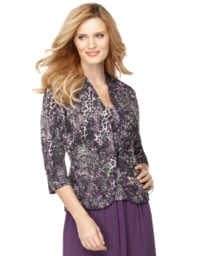 Alex Evenings Jacket & Cami, Three Quarter Sleeve Animal Printed Metallic