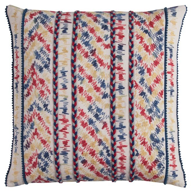 """Rizzy Home 20"""" x 20"""" Threaded Stripe Poly Filled Pillow"""