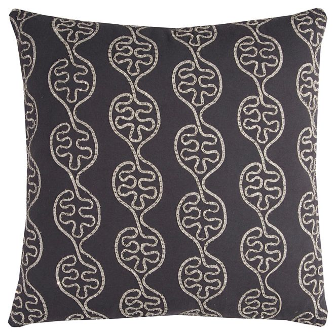 """Rizzy Home 20"""" x 20"""" Leaves in a Line Pillow Poly Filled"""