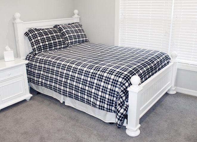 THRO Classic Plaid Fleece 3 Piece Full/Queen Comforter Set
