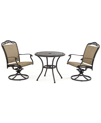"Beachmont Outdoor 3 Piece Set: 32"" Round Dining Table and 2 Swivel ..."