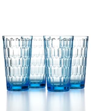 The Cellar Drinkware, Set of 4 Honeycomb Blue Highball Glasses