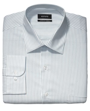 Alfani Dress Shirt, Faded Blue Striped Long Sleeve Shirt