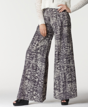 Bar III Pants, Printed Wide Leg Relaxed Palazzo