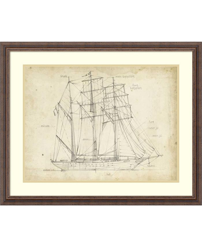 Amanti Art - Sailboat Blueprint I 32x26 Framed Art Print