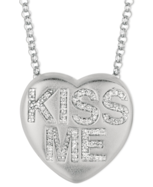 Sweethearts Diamond Necklace, Sterling Silver Diamond Kiss Me Heart Pendant (1/6 ct. t.w.)