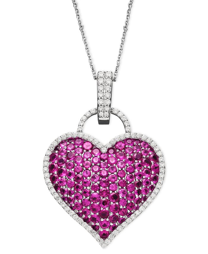 Macy's - 14k White Gold Necklace, Ruby (6-1/2 ct. t.w.) and Diamond (1/2 ct. t.w.) Pave Heart Pendant