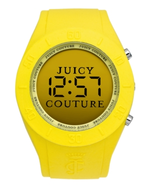 Juicy Couture Watch, Women's Digital Sport Couture Yellow Rubber Strap 42mm 1900892