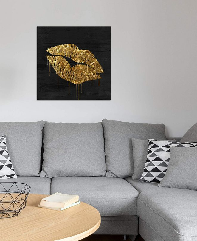 "iCanvas ""Golden Lips"" by Color Bakery Gallery-Wrapped Canvas Print (18 x 18 x 0.75)"