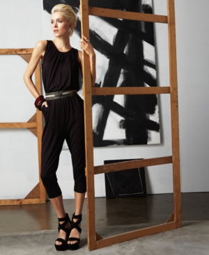 doo.ri for Impulse Jumpsuit, Sleeveless Scoop Neck Ruched Pocket Relaxed Skinny Belted