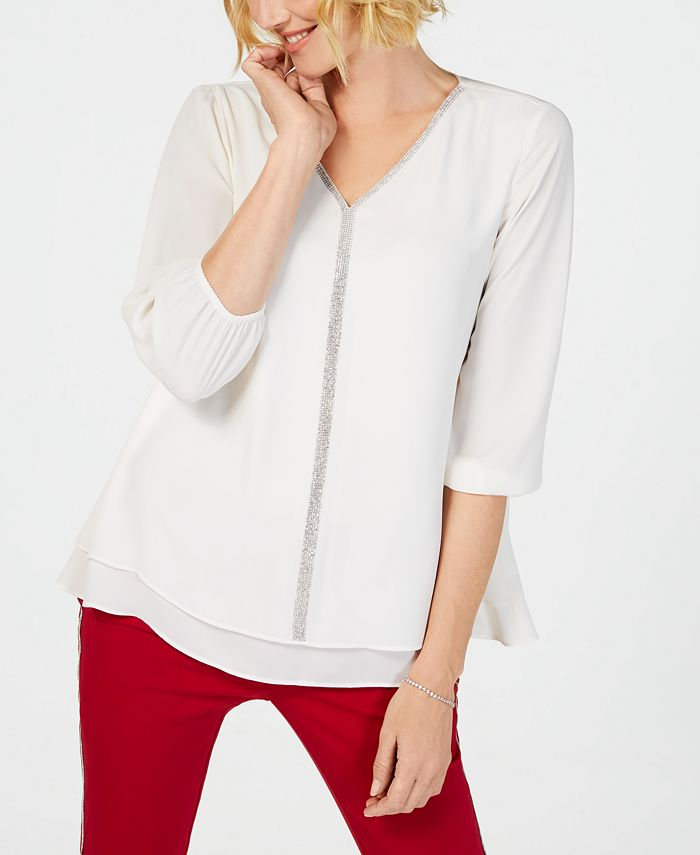 JM Collection - Jeweled Tiered-Hem Blouse, Created for Macy's