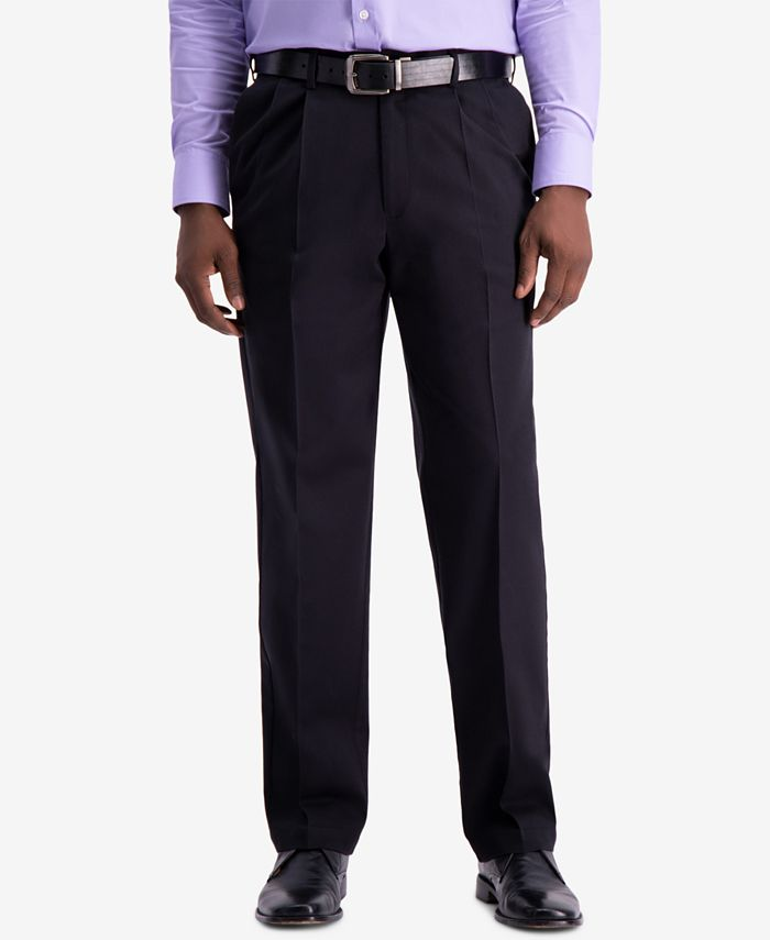 Haggar - Men's W2W PRO Classic-Fit Performance Stretch Non-Iron Pleated Casual Pants