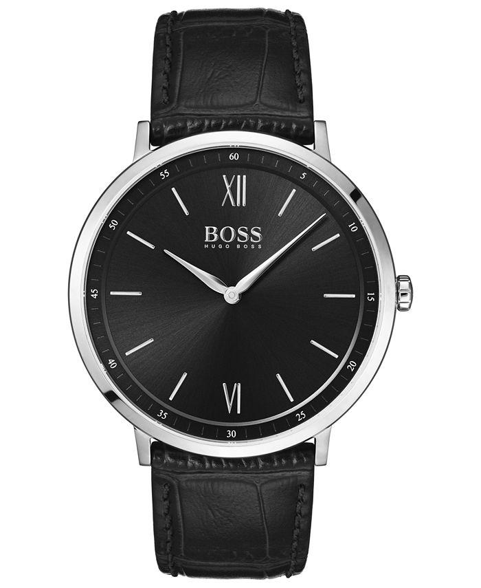 BOSS - Men's Essential Ultra Slim Black Leather Strap Watch 40mm