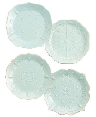 Lenox Dinnerware, Set of 4 French Perle Ice Blue Assorted Plates