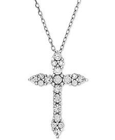 Diamond Cross Adjustable Pendant Necklace (1/2 ct. t.w.) in 14k White Gold