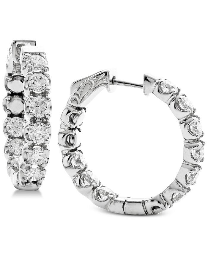 Macy's - Diamond In & Out Hoop Earrings (3-1/4 ct. t.w.) in 14k White Gold