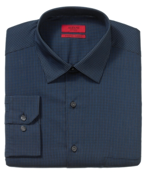 Alfani Dress Shirt, Fitted Black Navy Gingham Long Sleeve Shirt