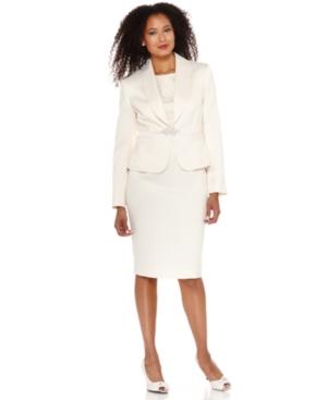 Kasper Suit, Shawl Collar Rhinestone Brooch Jacket & Sleeveless Lace Sheath Dress