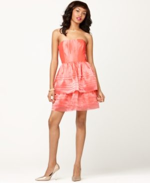 Adrianna Papell Dress, Strapless Corset Tiered Pleated Cocktail Dress
