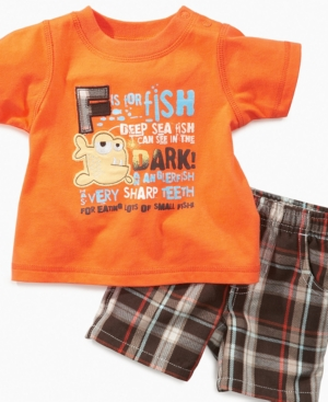 Kids Headquaters Baby Set, Baby Boys Fish Tee and Plaid Shorts