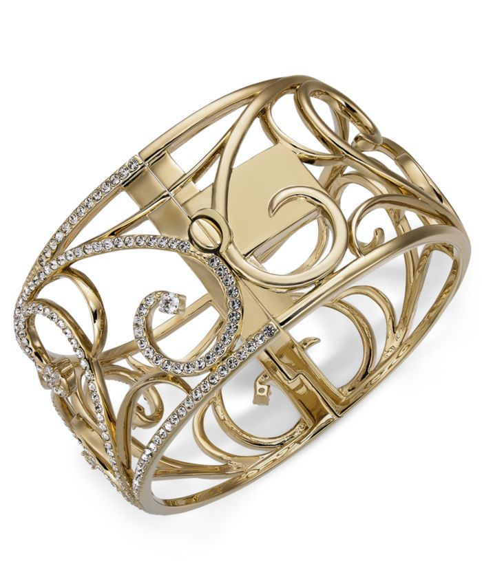 Eliot Danori Gold-Tone Pavé Openwork Bangle Bracelet, Created for Macy's & Reviews - Bracelets - Jewelry & Watches - Macy's