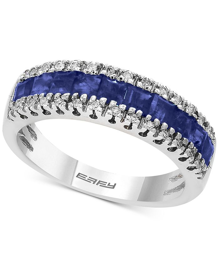 EFFY Collection - Sapphire (1-1/3 ct. t.w.) & Diamond (1/8 ct. t.w.) Ring in 14k White Gold