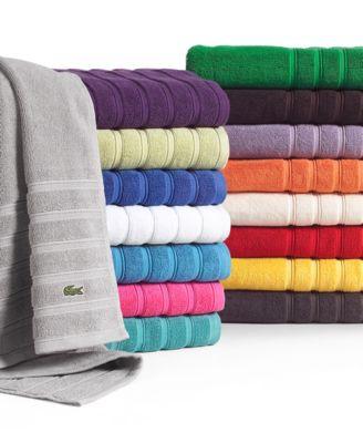 "Lacoste Bath Towels, Croc Solid 30"" x 54"" Bath Towel"