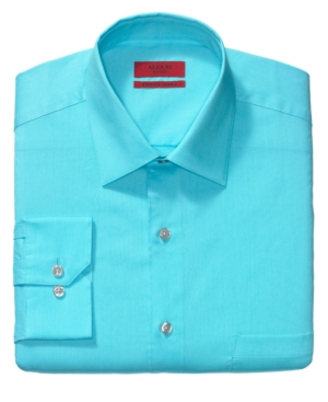 Alfani Dress Shirt, Fitted Ocean Blue Solid Long Sleeve Shirt