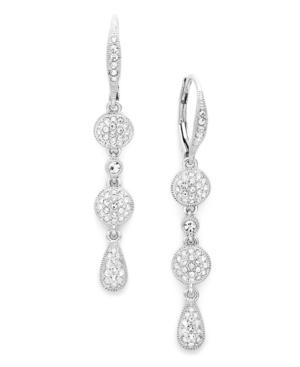 Eliot Danori Earrings, Silver Tone Crystal Pave Linear Earrings
