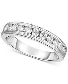 Diamond Bead Work Channel-Set Band (3/8 ct. t.w.) in 14k White Gold