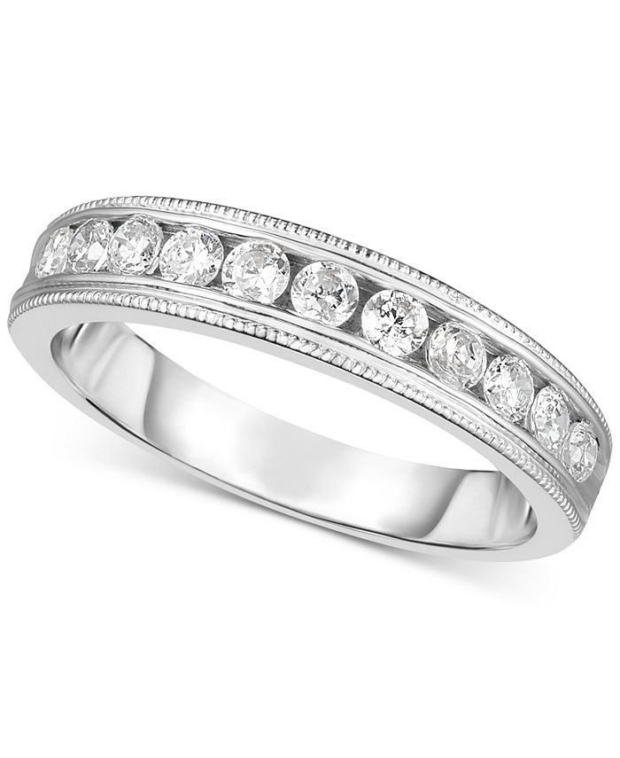 Macy's - Diamond Bead Work Channel-Set Band (3/8 ct. t.w.) in 14k White Gold