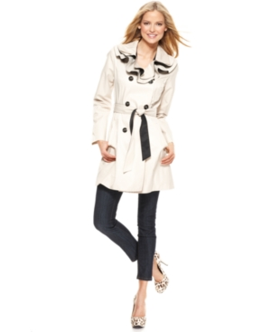Betsey Johnson Coat, Trench Ruffle Collar Colorblock Belted