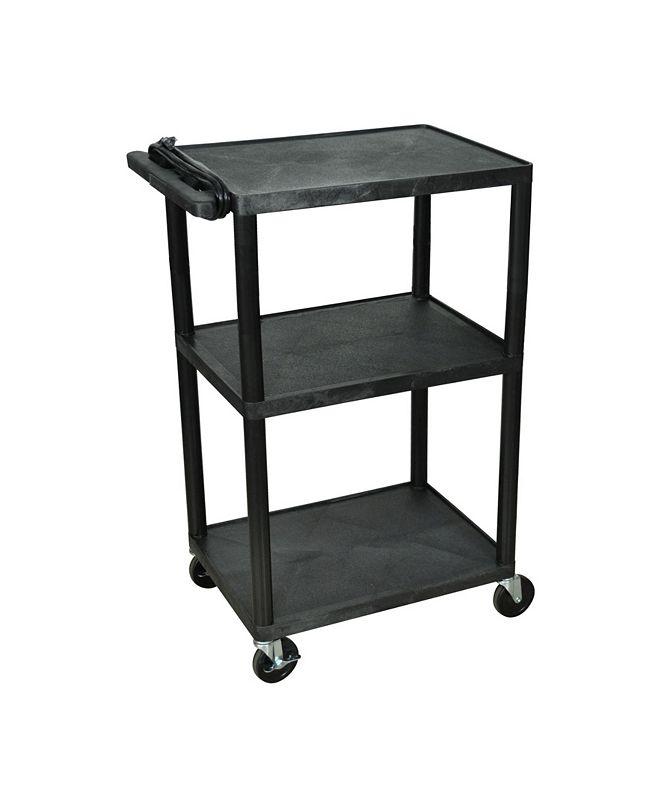 "Clickhere2shop 42""H Tuffy AV Cart with Three Shelves, Electric - Black"