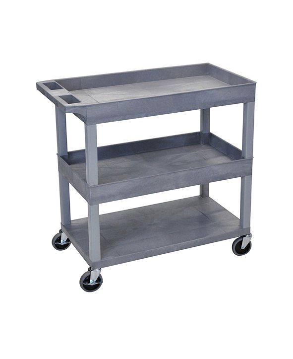 "Clickhere2shop High Capacity 32"" x 18"" Two Tub/One Flat Shelves Cart - Gray Shelves/Gray Legs"