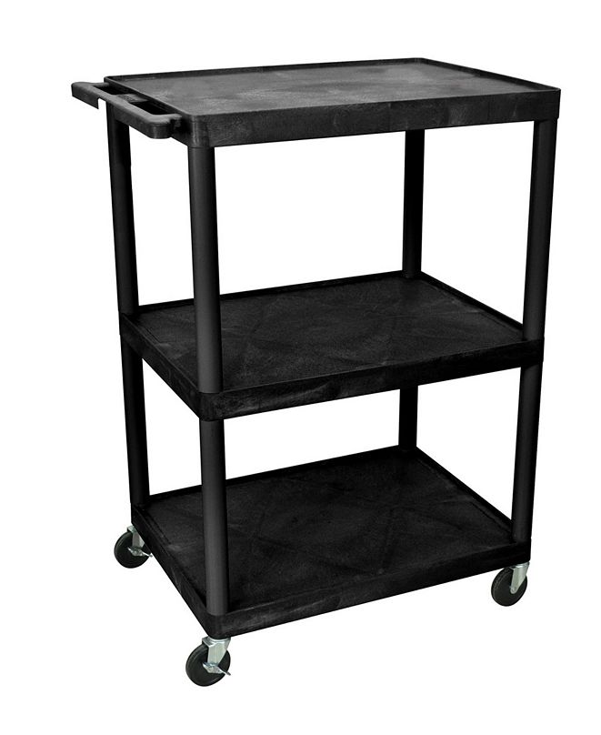 "Clickhere2shop 48""H 3 Shelves Multipurpose Utility A/V Cart - Black"
